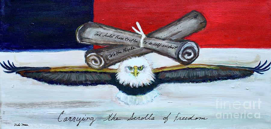 Freedom Painting - Carrying the Scrolls of Freedom  by Vicki Mae