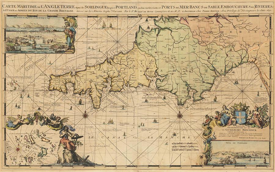 Carte Maritime De L Angleterre Depuis Sorlingues Jusques A Portland Ou L On Voit Les Costes Et Ports Amsterdam Painting By Romeyn De Hooghe