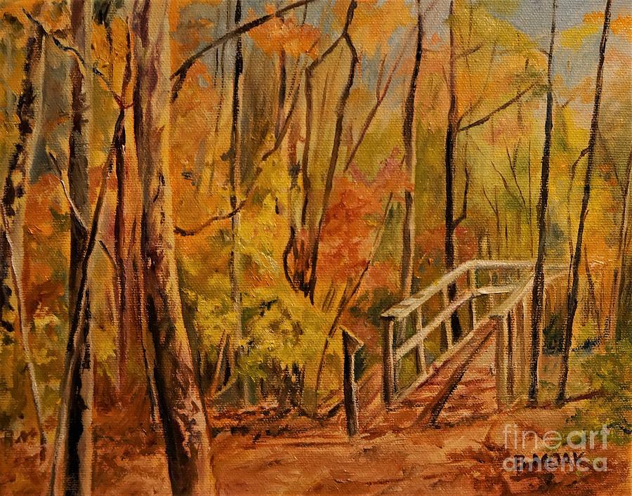 Impressionistic Painting - Carters Pond Bridge New York by Barbara Moak