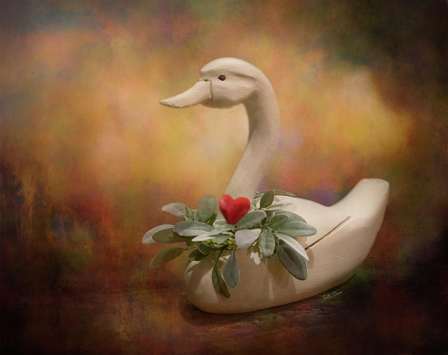 Carved White Swan Still Life by Betty Denise