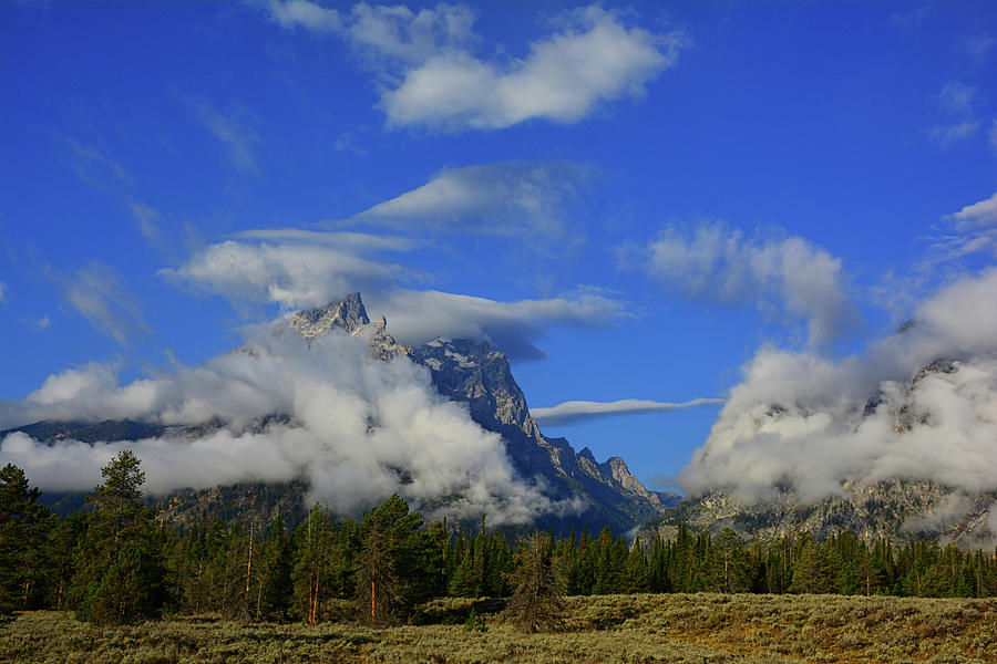 Cascade Canyon and Cathedral Group With Clouds by Raymond Salani III
