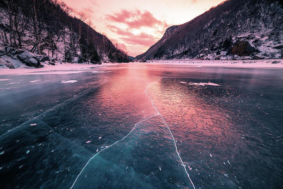 Cascade Lake Photograph - Cascade Ice Sunset by Brad Wenskoski
