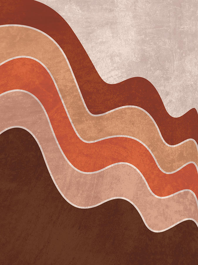 Cascade - Minimal Brown Abstract Mixed Media