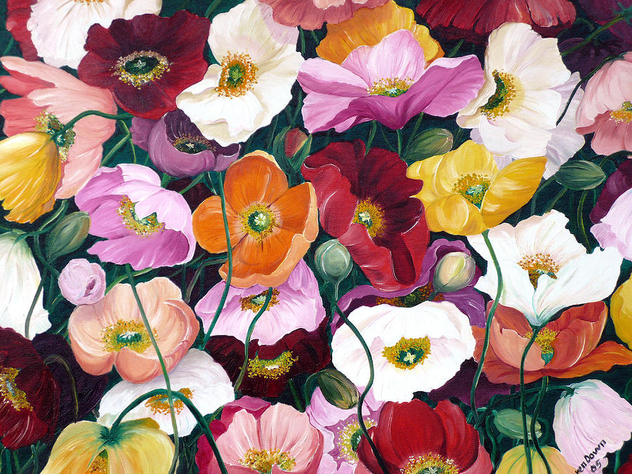 Cascade Of Poppies Painting by Karin  Dawn Kelshall- Best
