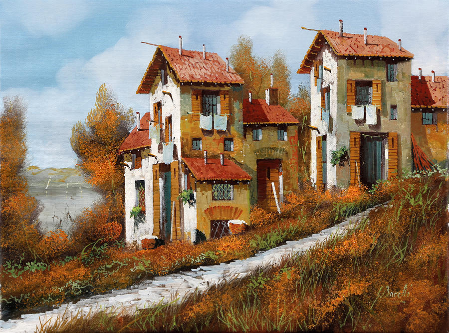 Case Verso Il Lago Painting