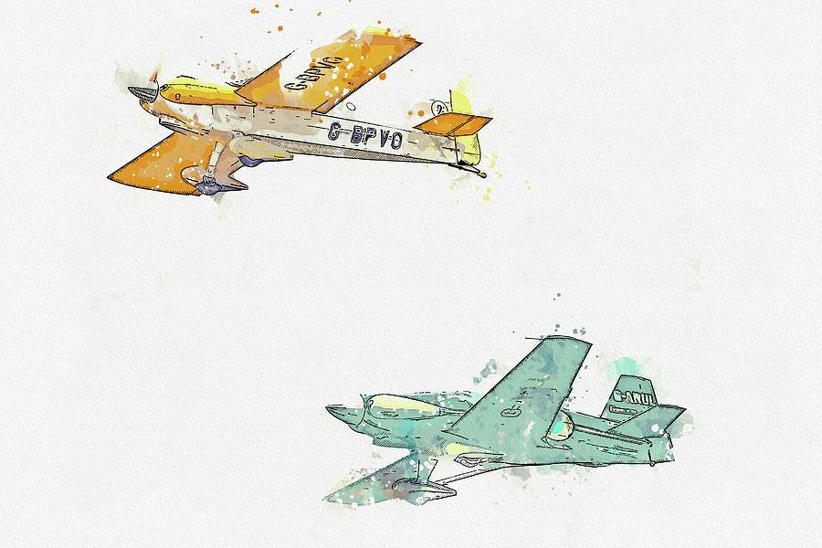 Cassutt Racer IIim G-bpvo  Levier Cosmic Wind G-arul Ballerina War Planes In Watercolor Ca By Ahmet Painting