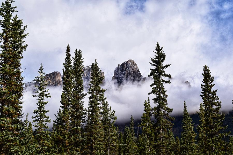 Castle Mountain Photograph - Castle Mountain In The Clouds by Dana Hardy