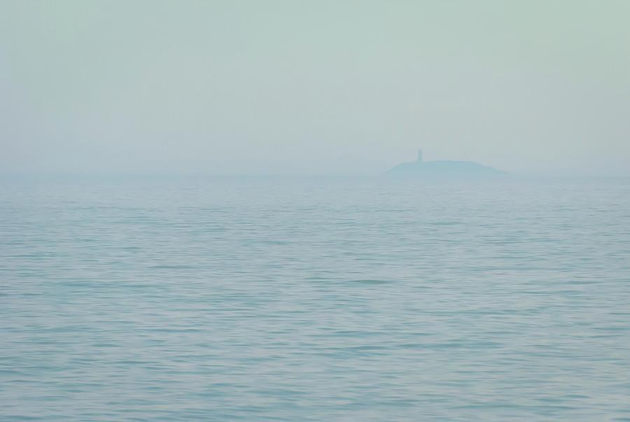 Ocean Island Lighthouse In Fog Photograph
