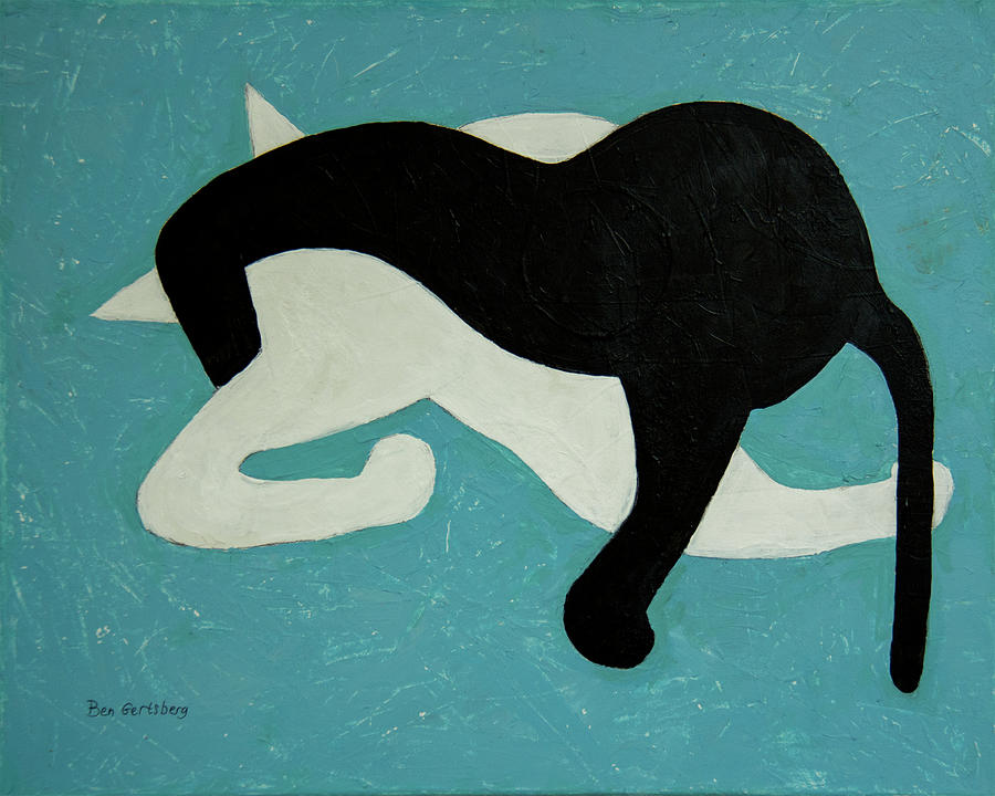 Cat In White And Black On Blue by Ben Gertsberg