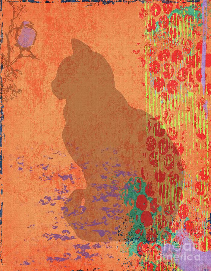 Cat And Bird Abstract Mixed Media by PurrVeyor Com
