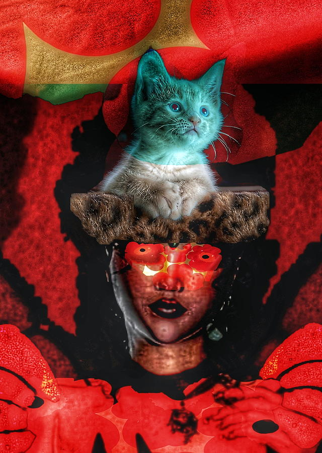 Surreal Digital Art - Cat in the hat by Gunilla Munro Gyllenspetz