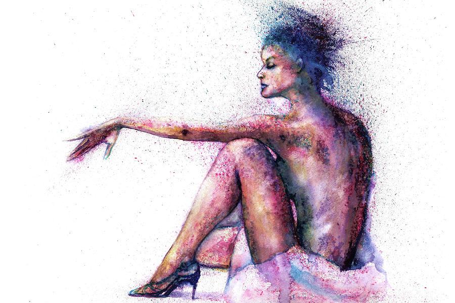 Woman Painting - Cat original oil painting by Natalja Picugina