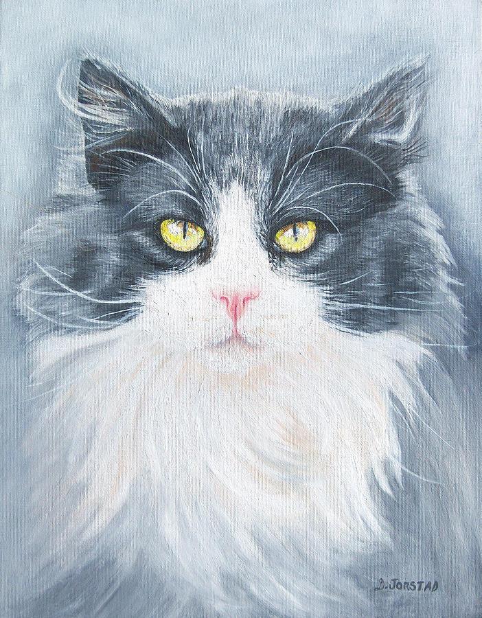 Pet Portrait Artist Painting - Cat Print Pet Portrait Artist For Hire Commission by Diane Jorstad