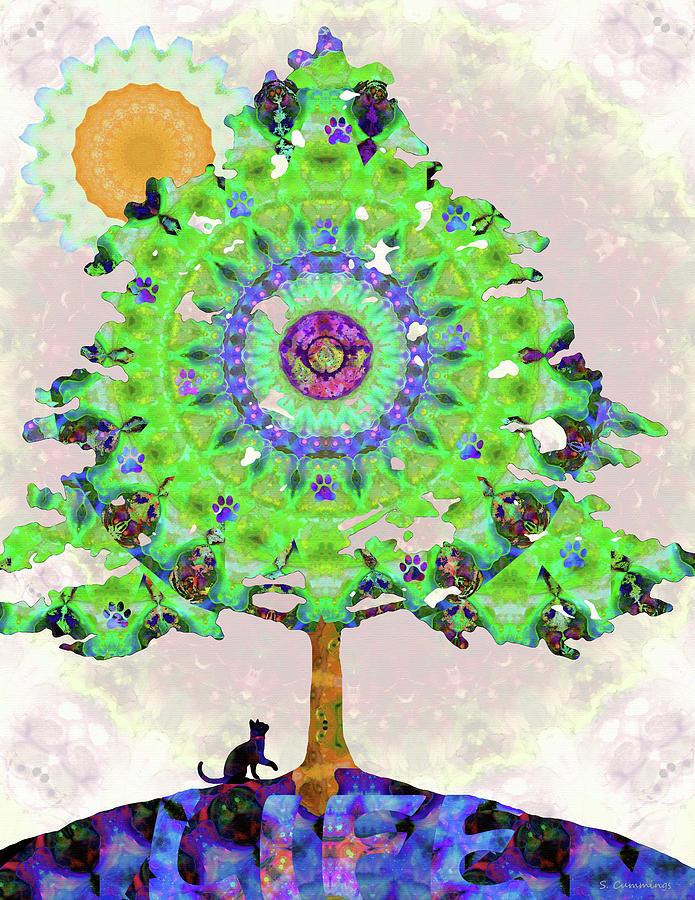 Cat Painting - Cat Tree Of Life Art - Cat is Life - Sharon Cummings by Sharon Cummings