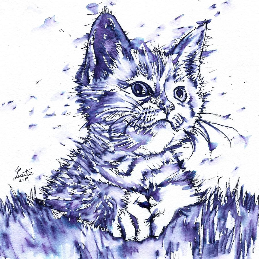 CAT - watercolor and ink portrait.1 by Fabrizio Cassetta