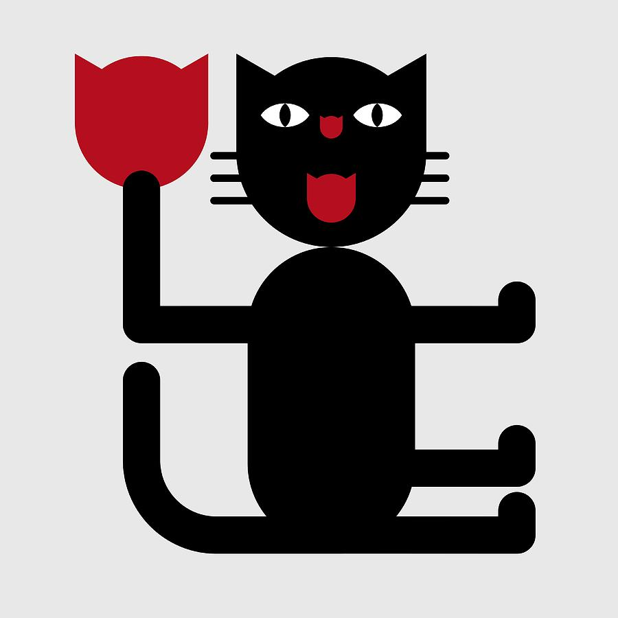 Cat with Tulip by Attila Meszlenyi