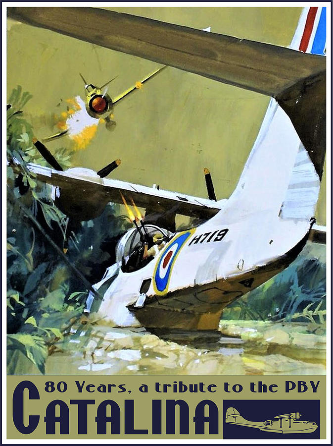 Pby Catalina Drawing - Catalina under attack by Hans Wiesman
