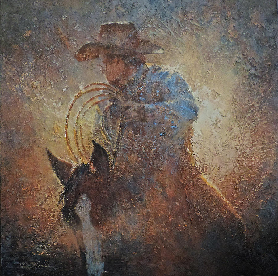 Cowboy Painting - Catching Sundown by Mia DeLode