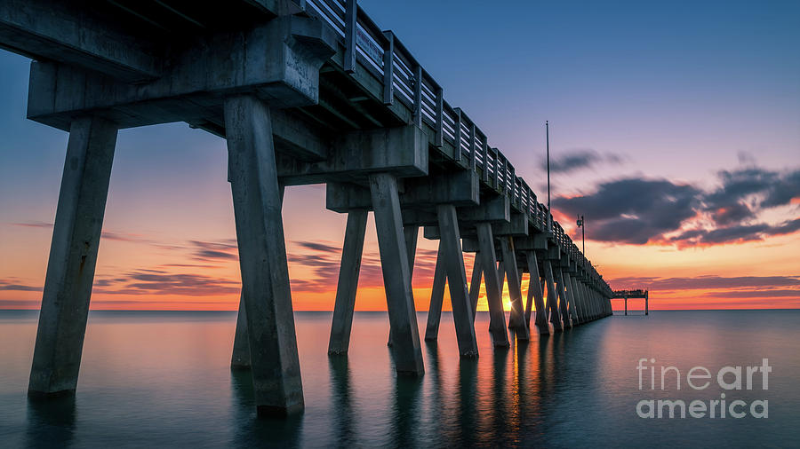 Casey Key Photograph - Catching the Sun at Venice Fishing Pier, Florida by Liesl Walsh