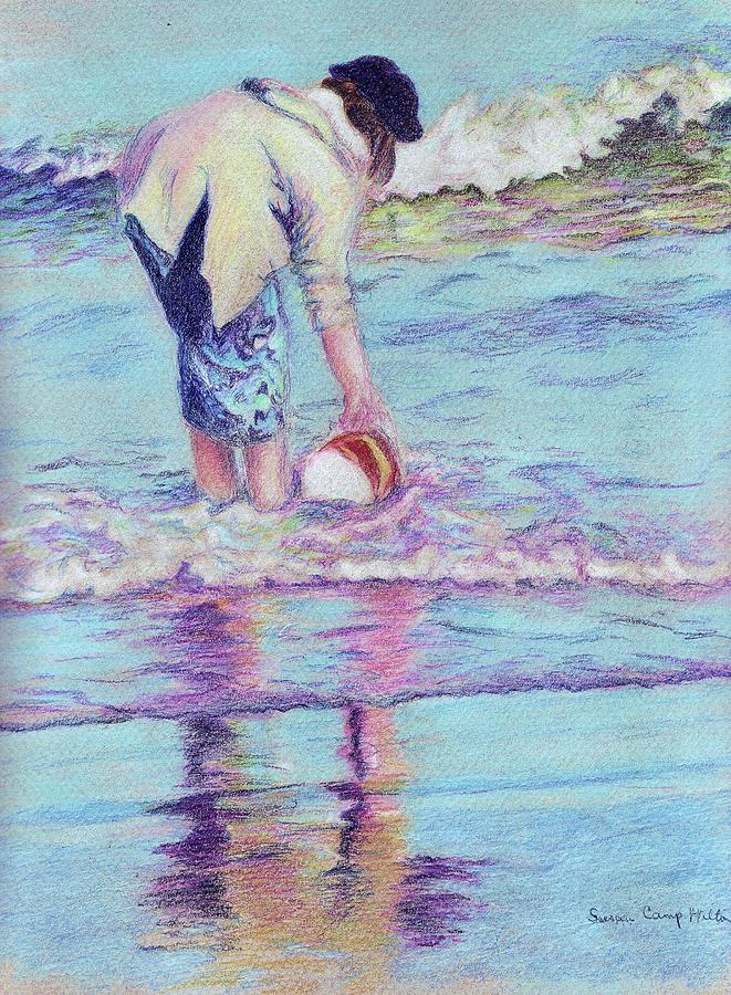 Beach Bucket Drawing - Catching Waves by Susan Camp Hilton