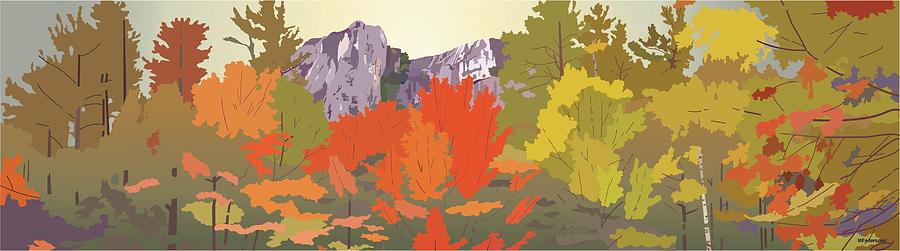 Autumn Digital Art - Cathedral Ledge by Marian Federspiel