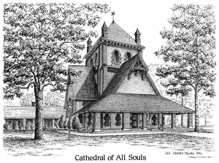 Church Drawing - Cathedral of All Souls by Lee Pantas