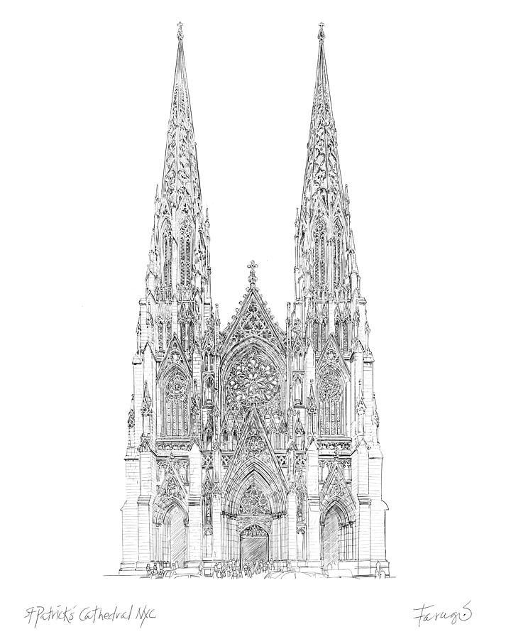 Cathedral Drawing - Cathedral of St. Patrick by Peter Farago