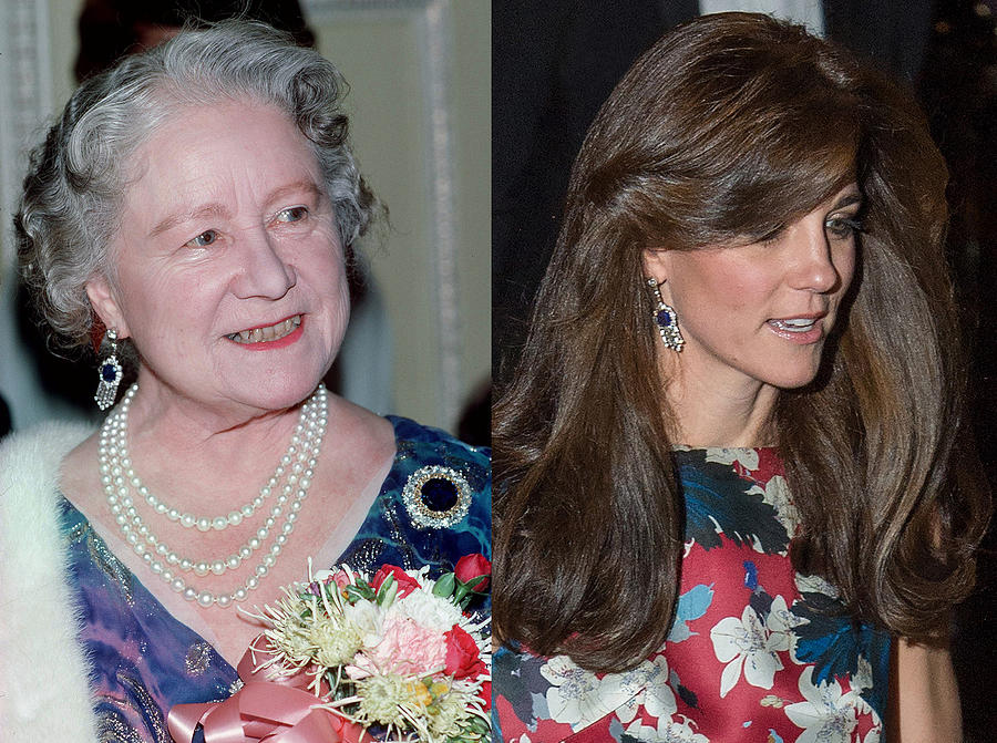 Catherine, Duchess of Cambridge Wears Queen Mother Earrings Photograph by Anwar Hussein