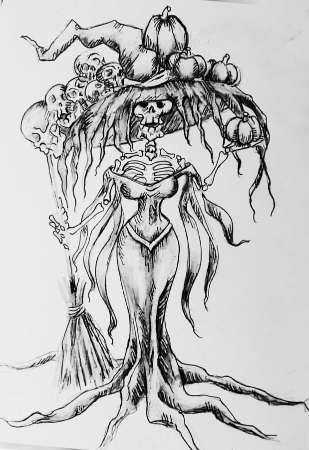 Catrina Witch Drawing By Anna Hackler