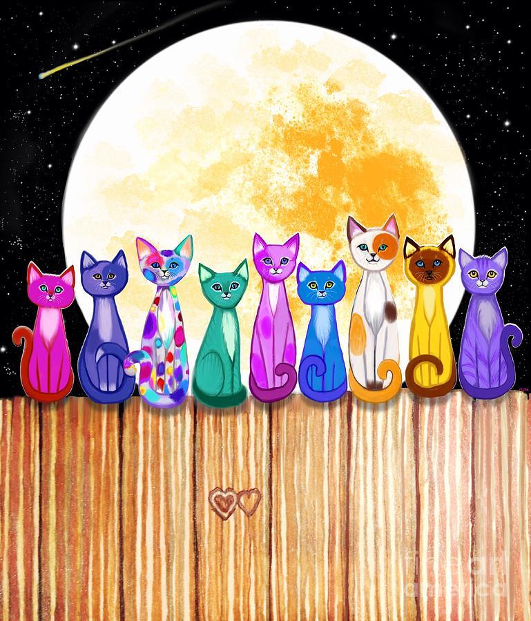 Cats In The Full Moonlight Digital Art