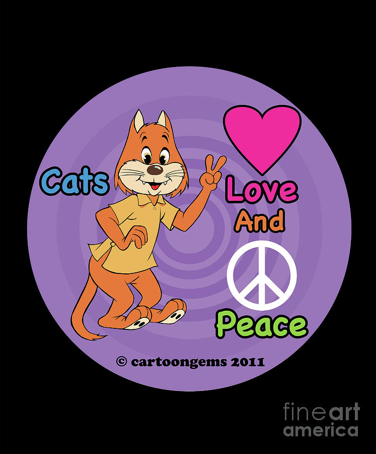 Comics Drawing - Cats Love And Peace by Cartoon Gems
