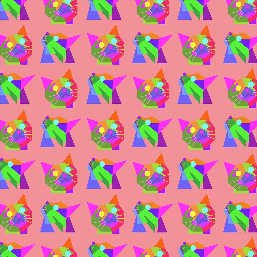 cats Pattern WPAP Style pink background Digital Art