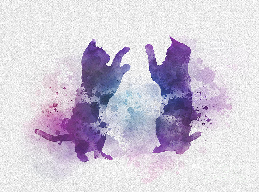 Cats Mixed Media - Cats Playing by My Inspiration
