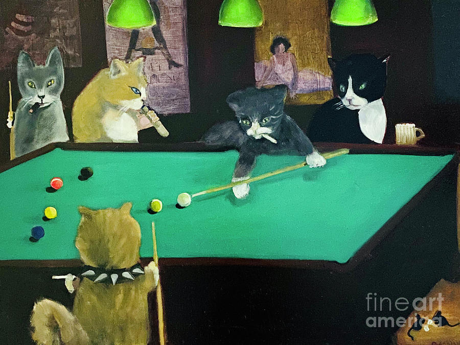 Cats Painting - Cats Playing Pool by Gail Eisenfeld