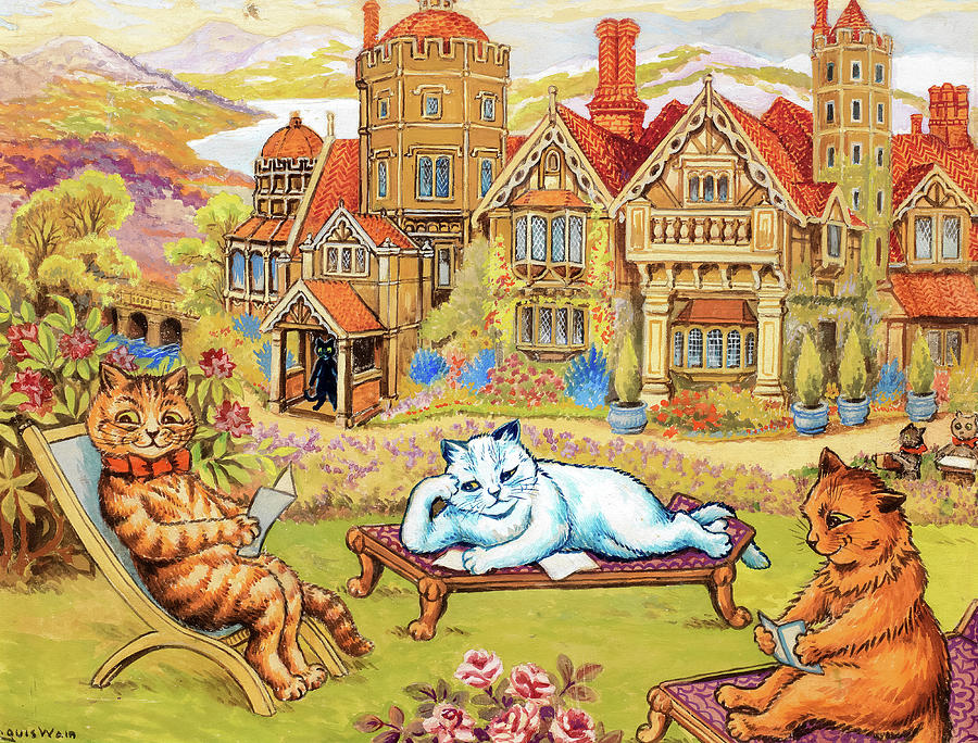 Cats relaxing in the grounds at Napsbury Painting by Louis Wain