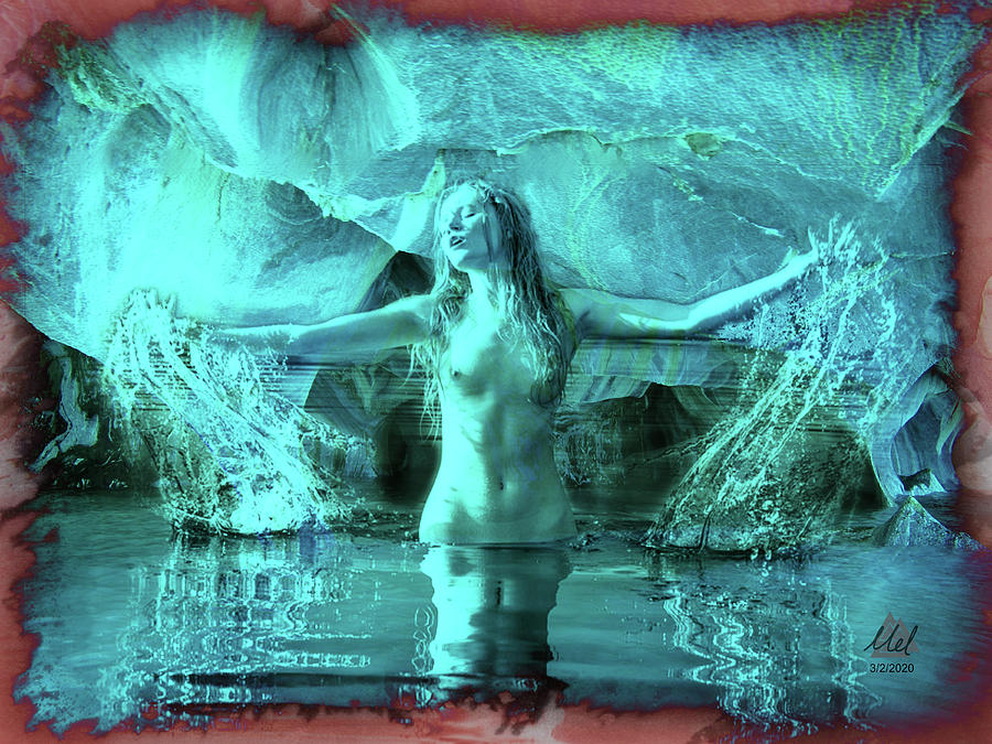 Fantasy Nude Woman In Water In A Cave. Digital Art