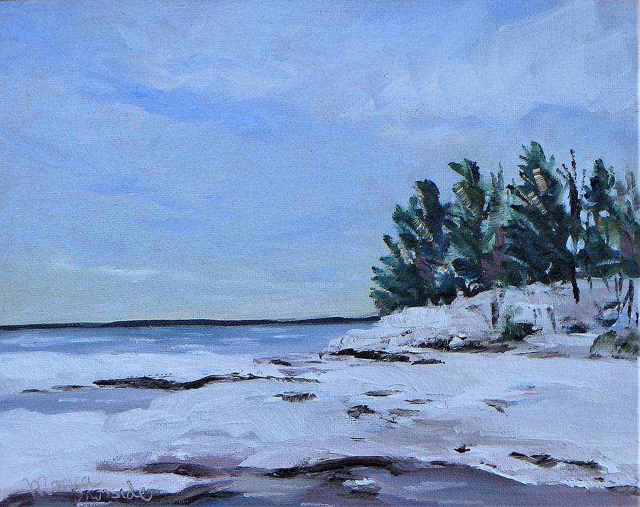Winter Painting - Cawaja Winter Beach by Monica Ironside