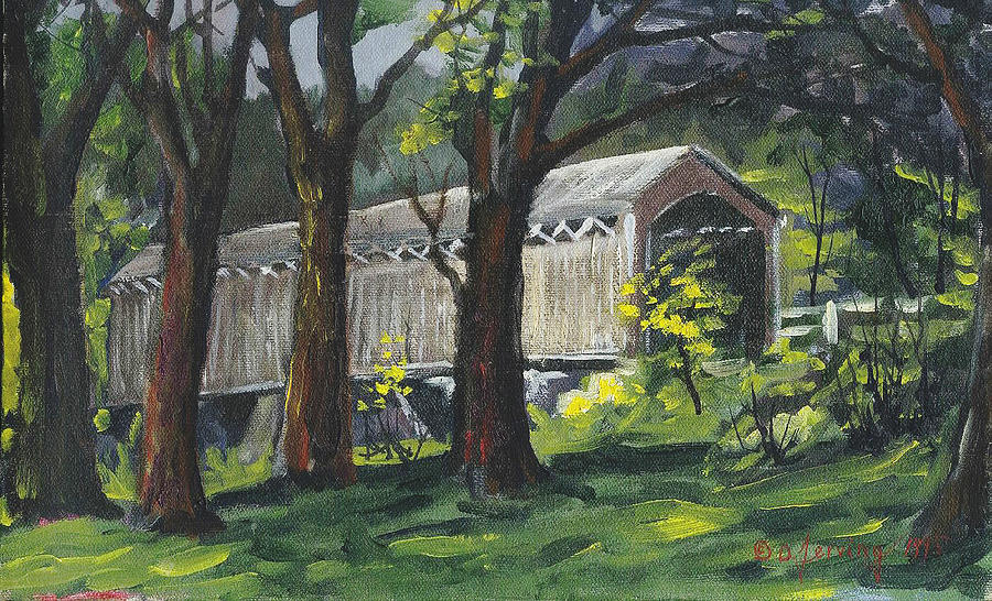 Cedarburg Covered Bridge Original Oil 16x10 Painting by Doug Jerving