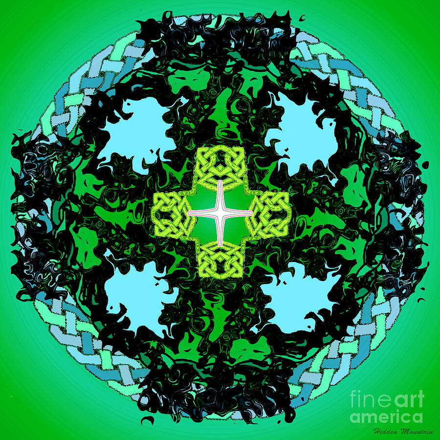 Celtic Cross Painting - Celtic 4 1 21 by Hidden Mountain