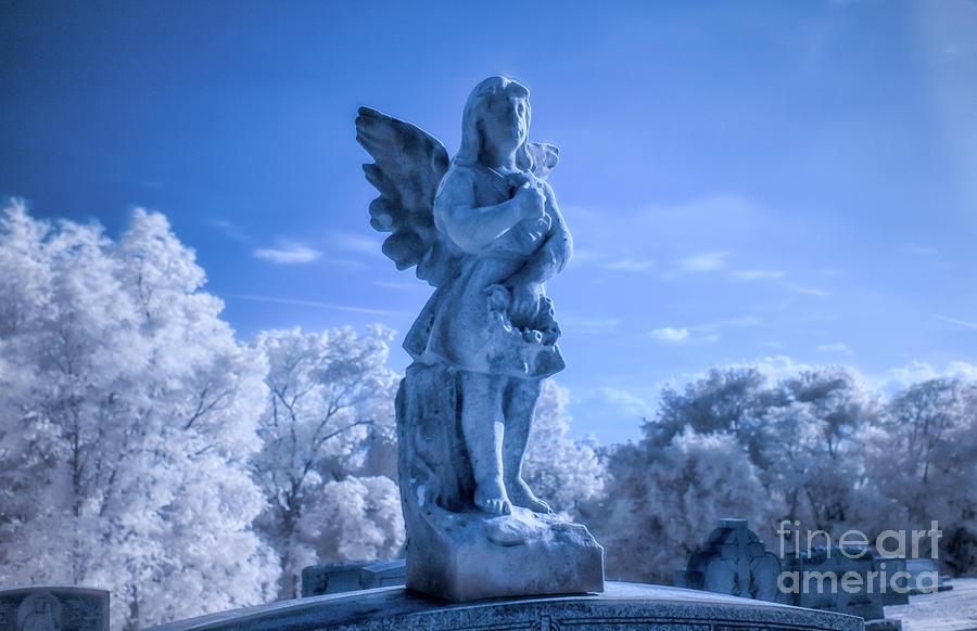 Cemetery Angel Grave Monument Infrared Digital Art