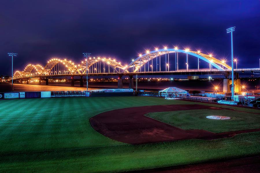 Bridge Photograph - Centennial Bridge and Modern Woodmen Park by Scott Norris