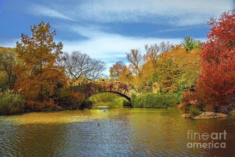 Central Park Gapstow Bridge Fall Beauty by Regina Geoghan