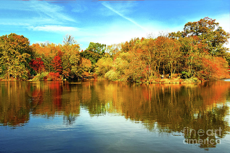 Central Park Lake Autumn Reflections by Regina Geoghan