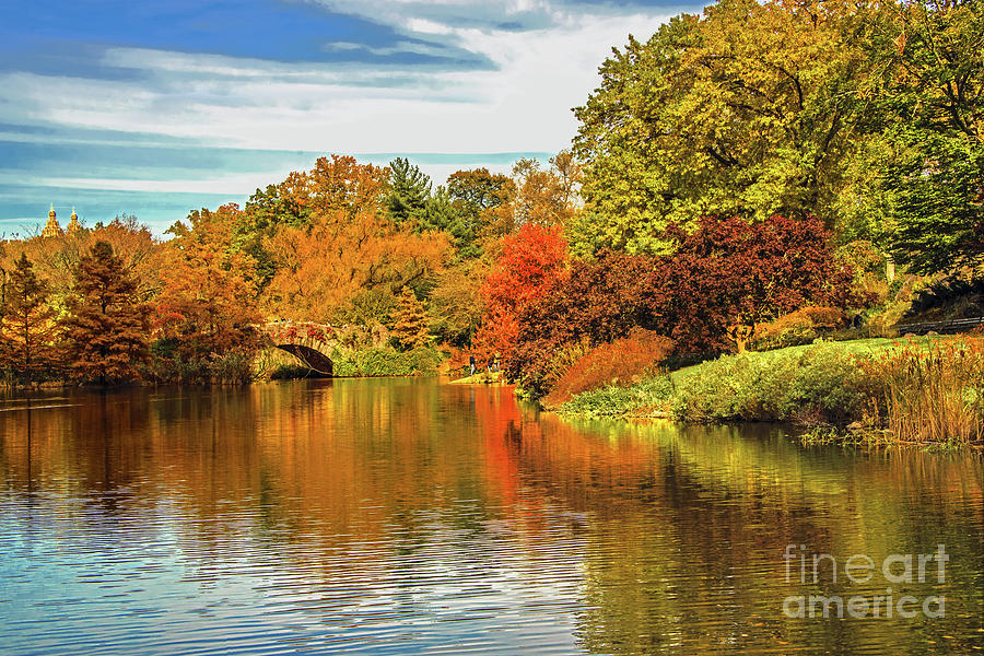 Central Park Pond Autumn Beauty by Regina Geoghan
