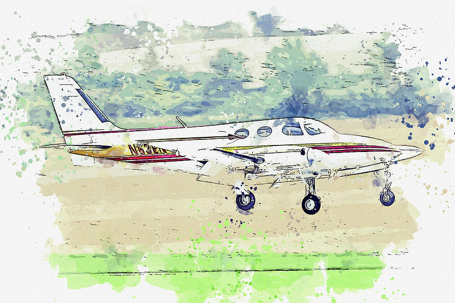 Cessna Nen This Twin-engine War Planes In Watercolor Ca By Ahmet Asar Painting