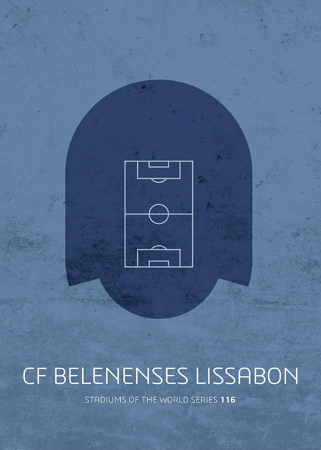 Cf Mixed Media - Cf Belenenses Lissabon Stadium Football Soccer Minimalist Series by Design Turnpike
