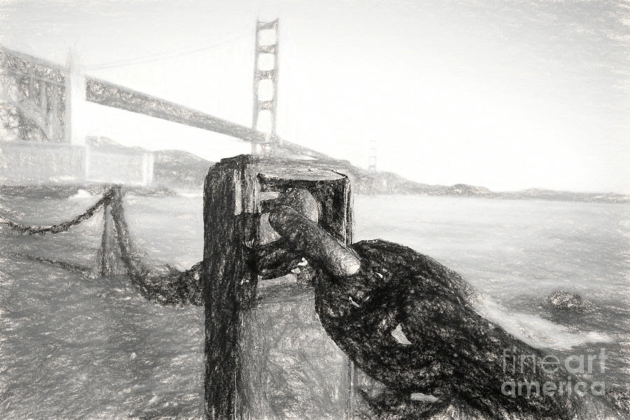 Golden Digital Art - Chained To The Golden Gate - Charcoal II by Chris Mautz
