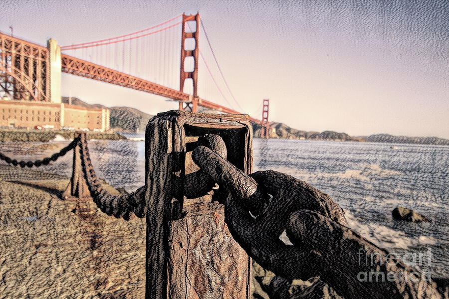 Golden Digital Art - Chained To The Golden Gate - Charcoal Sketchbook by Chris Mautz