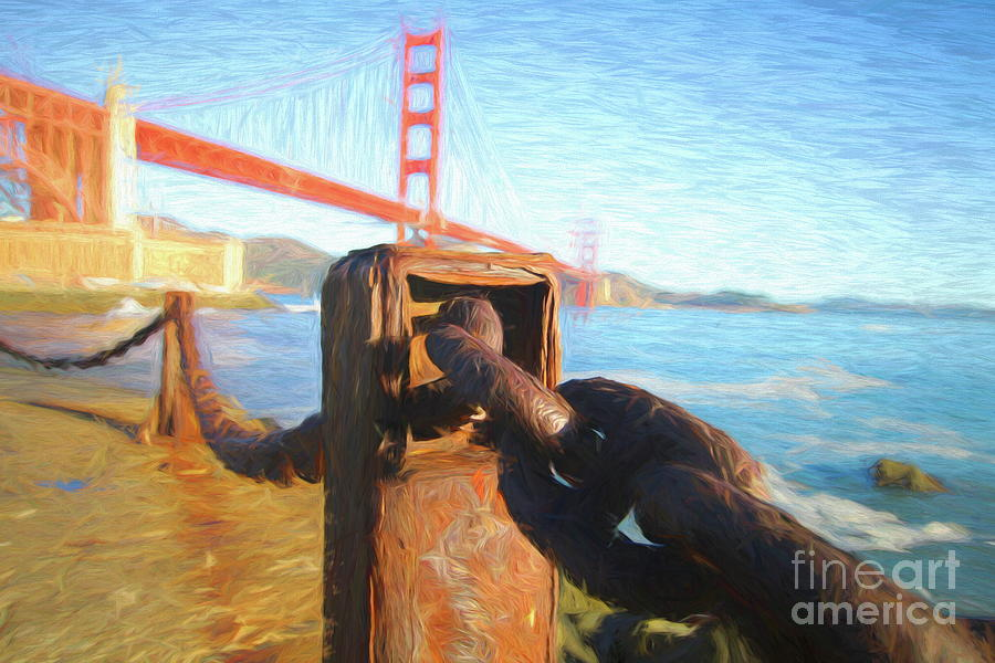 Golden Digital Art - Chained To The Golden Gate - Palette Knife and Oil by Chris Mautz