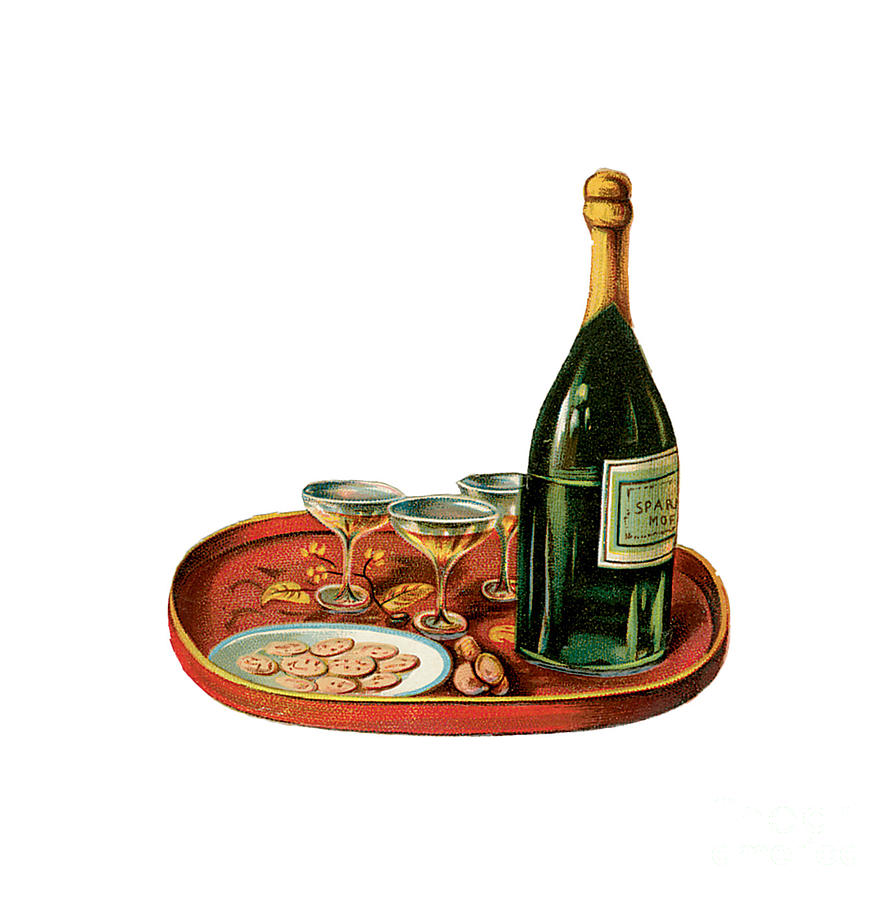 Champagne And Caviar Illustration Painting
